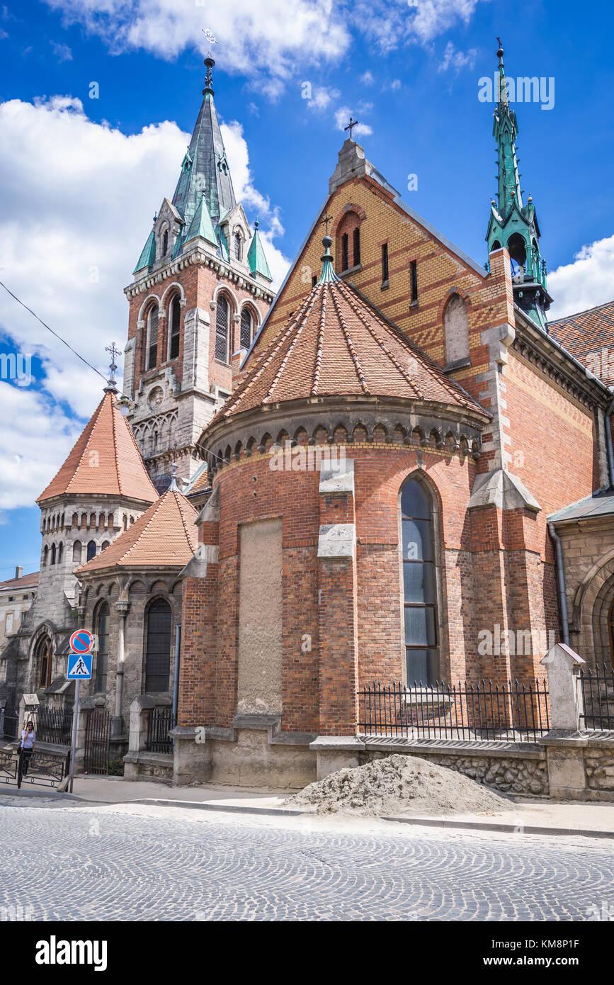 Exterior of Roman Catholic Saint Stanislaus Church in Chortkiv city in Ternopil Oblast of western Ukraine - Stock Image