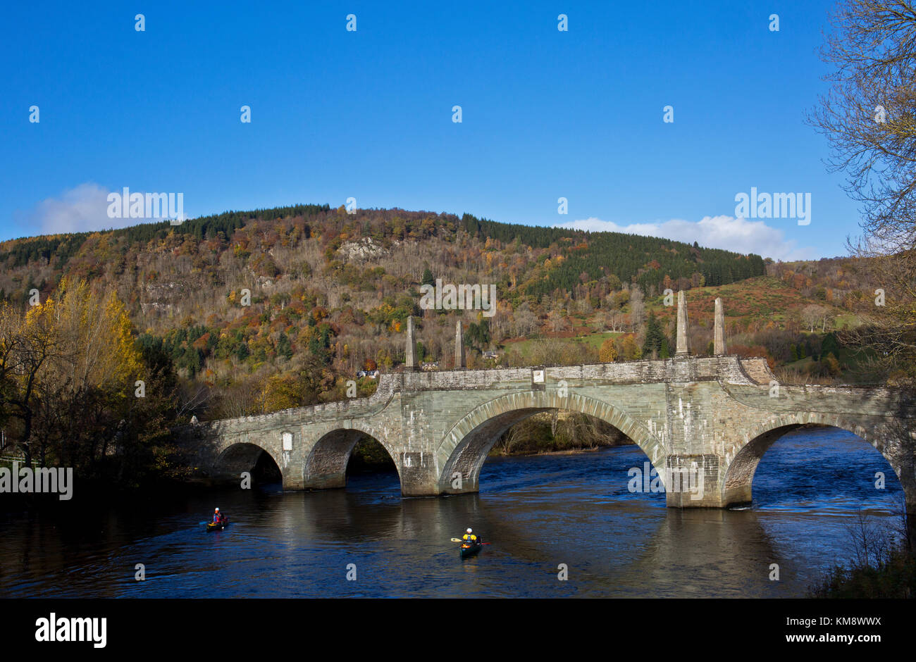 The Tay Bridge at Aberfeldy, Built by General George Wade, in Autunm - Stock Image
