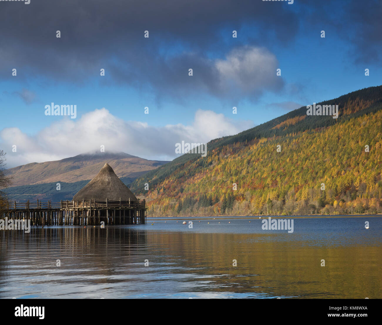 Crannog at Kenmore, Loch Tay, Perthshire, Scotland - Stock Image