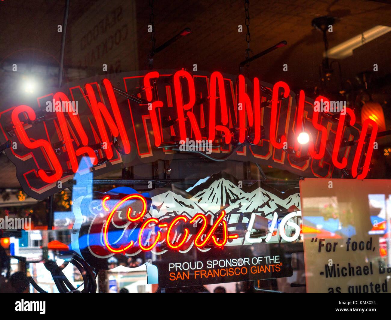 'San Francisco' bar red neon sign in window of Pier 39 San Francisco drinks bar California USA - Stock Image