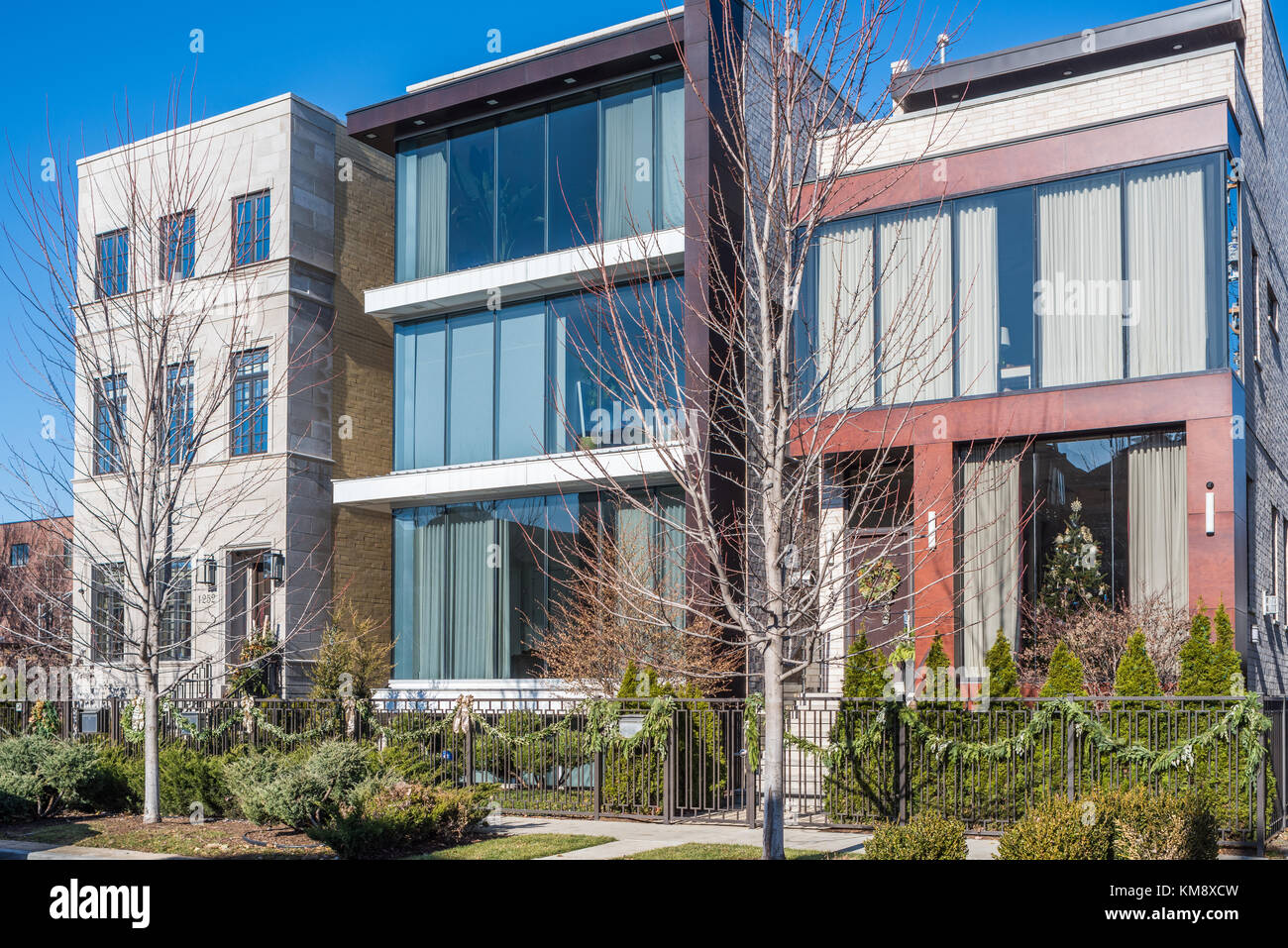 Contemporary single family homes in the Lincoln Park neighborhood. - Stock Image