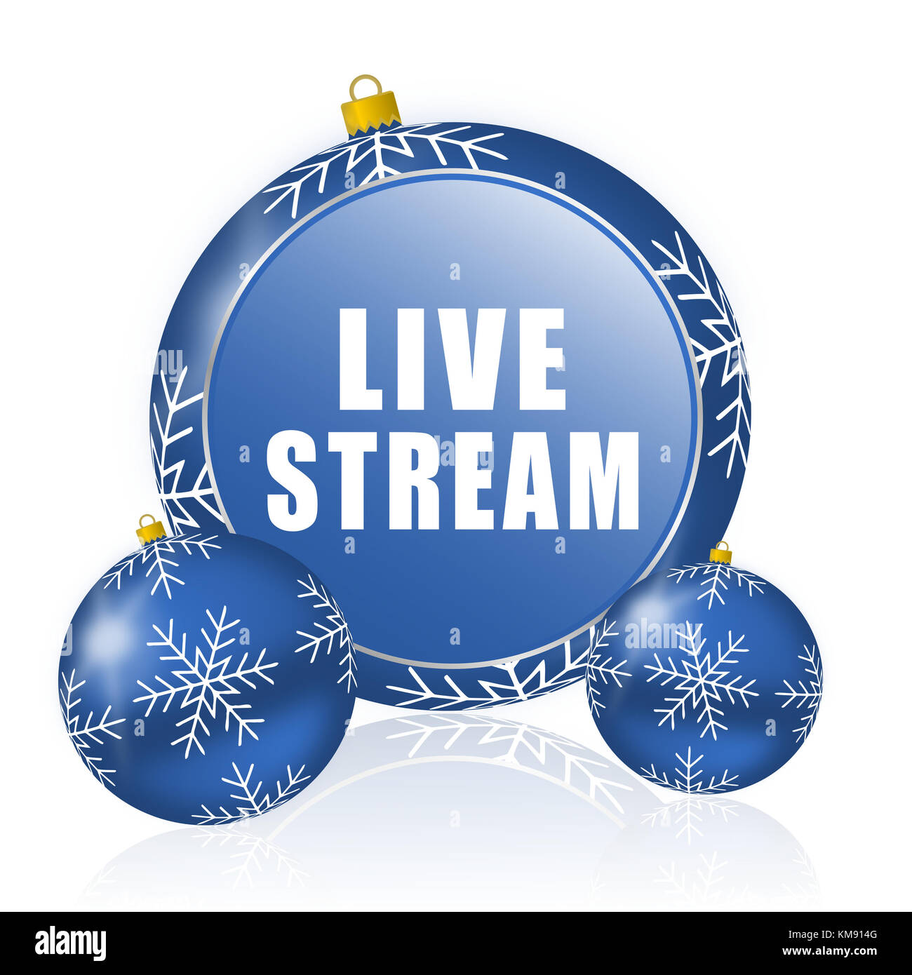Live stream blue christmas balls icon - Stock Image