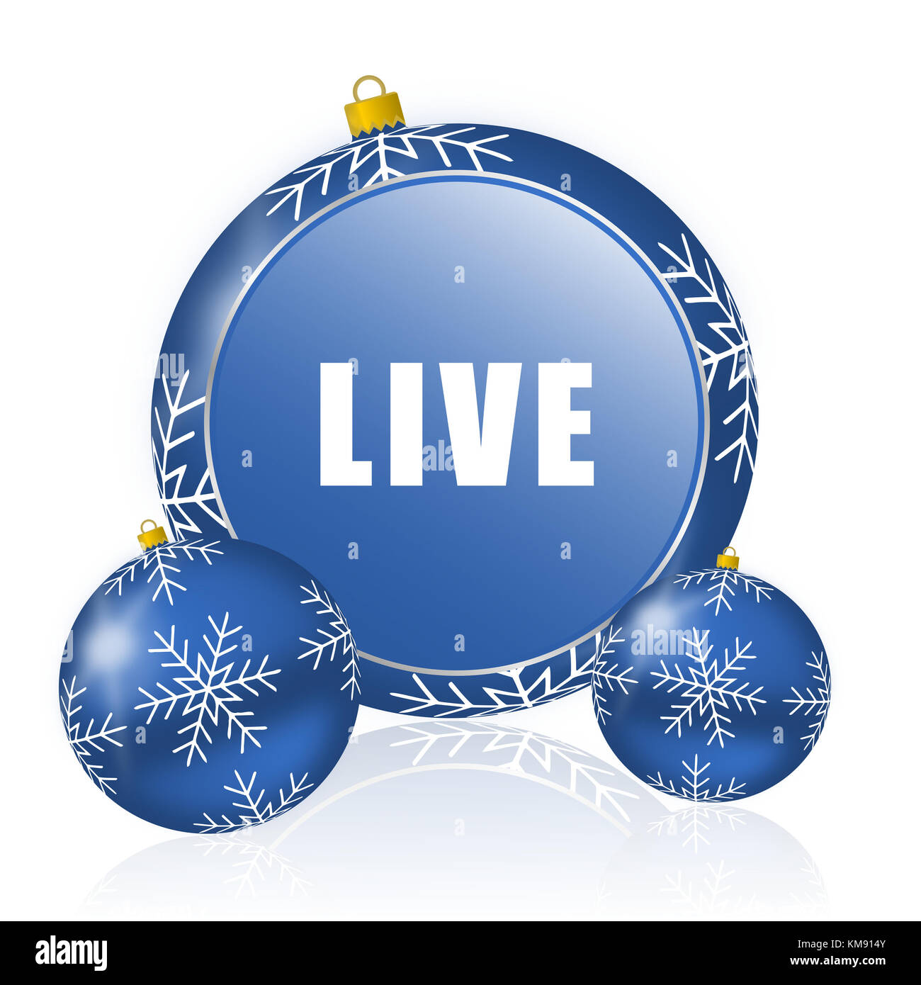 Live blue christmas balls icon - Stock Image