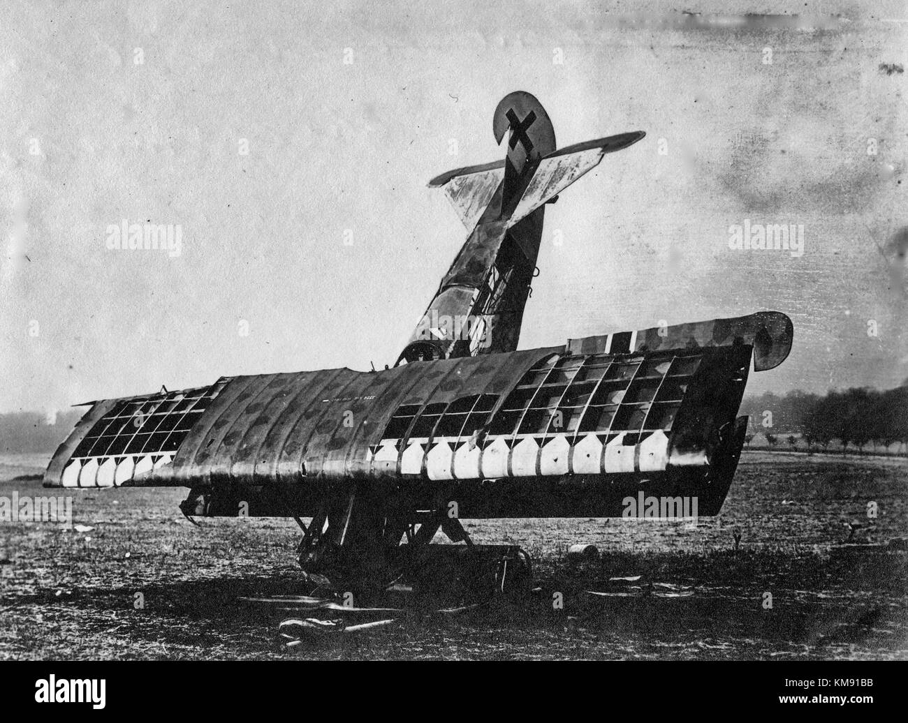 German plane destroyed by the Germans following the armistice - 1918 - World War I - Stock Image
