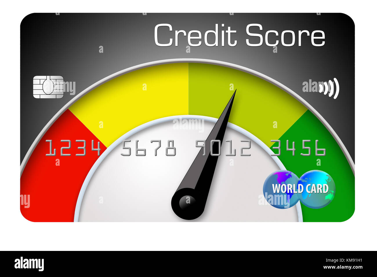 Ten credit cards are lined up with the one in front decorated with a large number one It is an illustration for Stock Photo