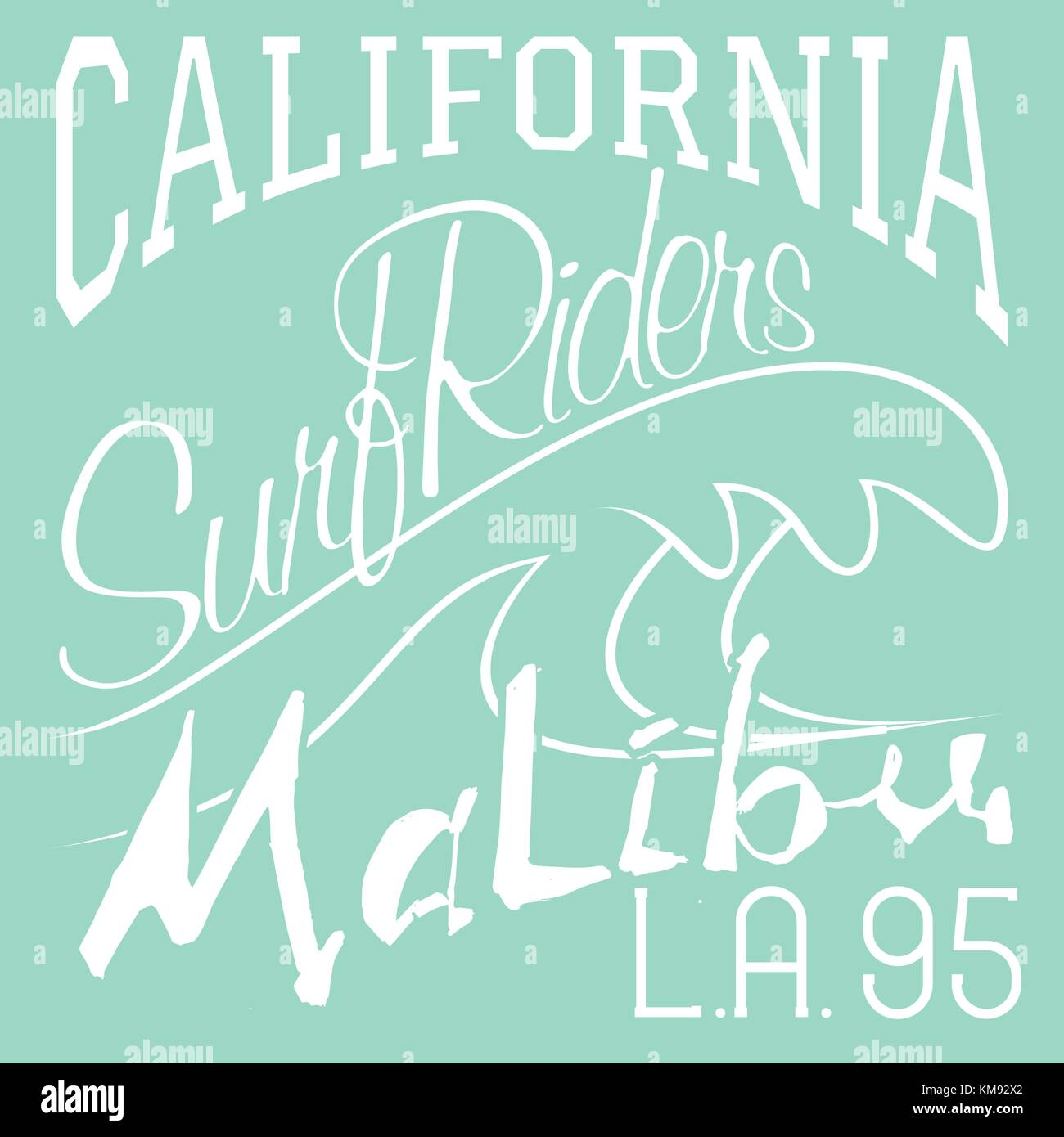 04f57f74 T-shirt Printing design, typography graphics Summer vector illustration  Badge Applique Label California Malibu beach surf riders L.A. sign.