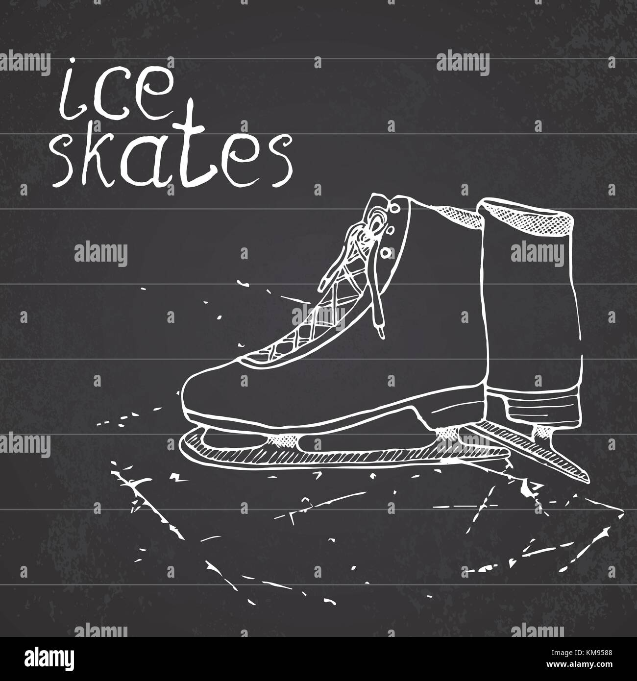 Hand Drawn Sketch Ice Skates Drawing Sport Doodle Element Winter