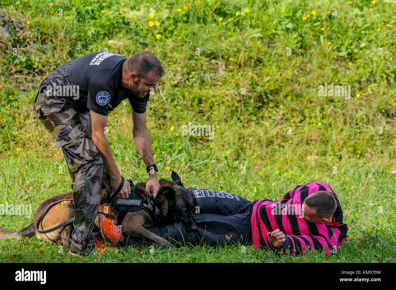 French and swiss gendarmes take part in a lifesize drill at Leman lake, Savoie, France - Stock Image