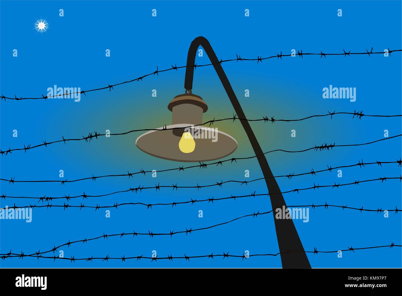 barbed wire and star - Stock Image