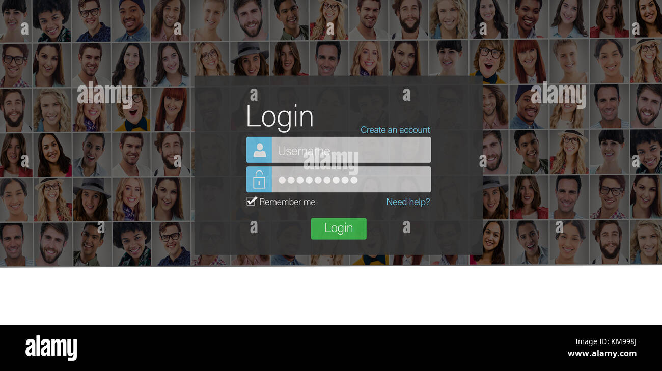 close up of login page against people collage portrait very wide