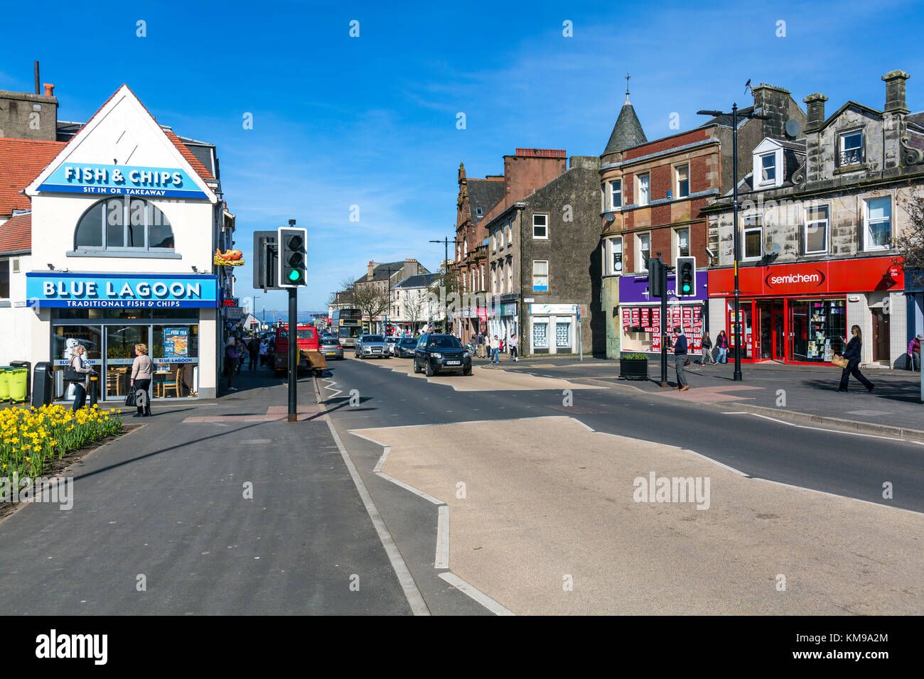 Main Street in the seaside town of Largs in North Ayrshire, Scotland, UK - Stock Image