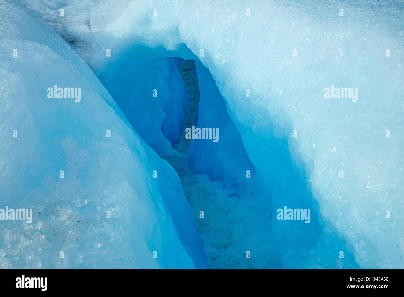 Blue ice in crevasse, Perito Moreno Glacier, Parque Nacional Los Glaciares (World Heritage Area), Patagonia, Argentina, - Stock Image