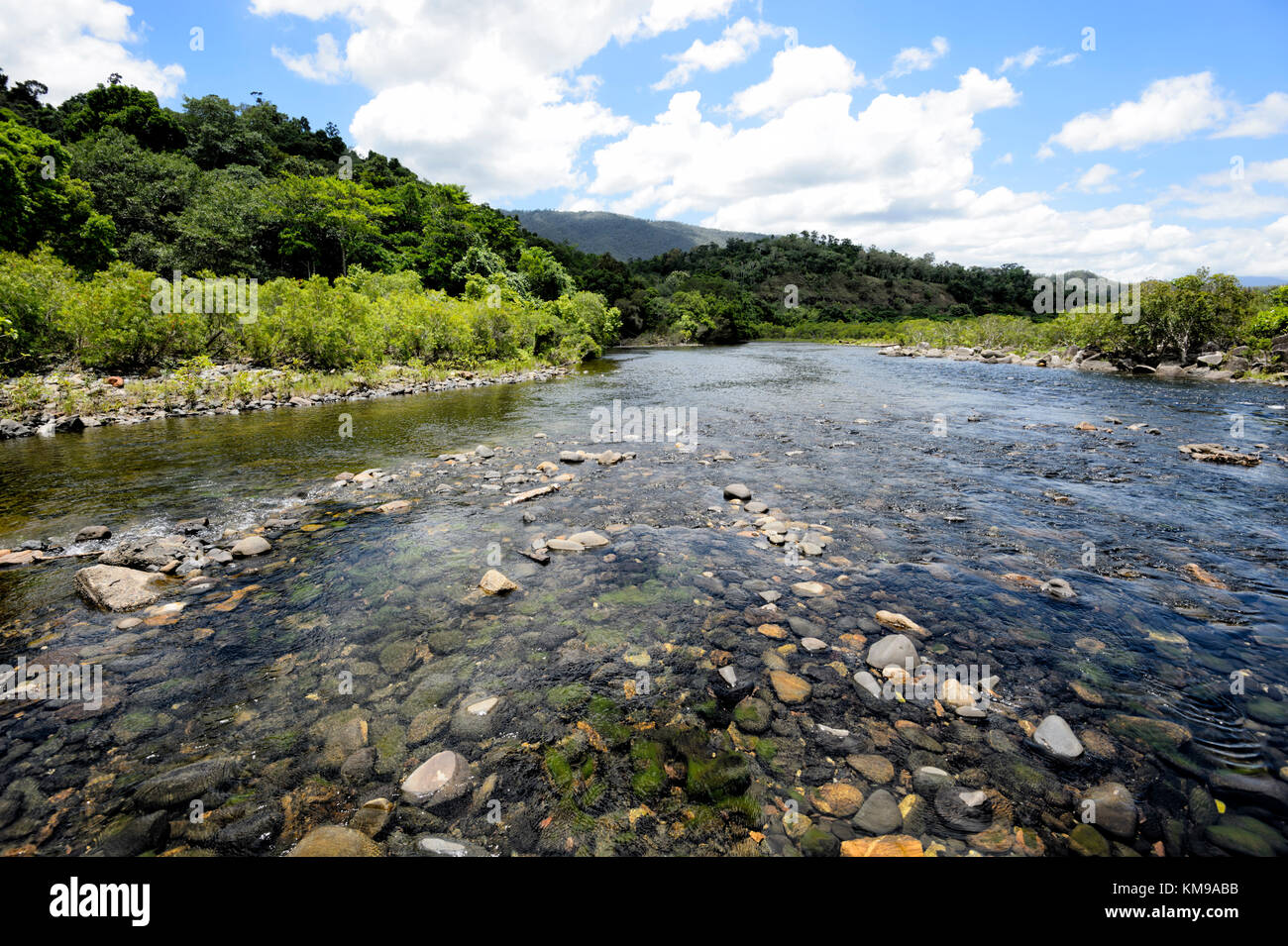 Mulgrave River running through the scenic Goldsborough Valley, near Cairns, Far North Queensland, FNQ, QLD, Australia - Stock Image