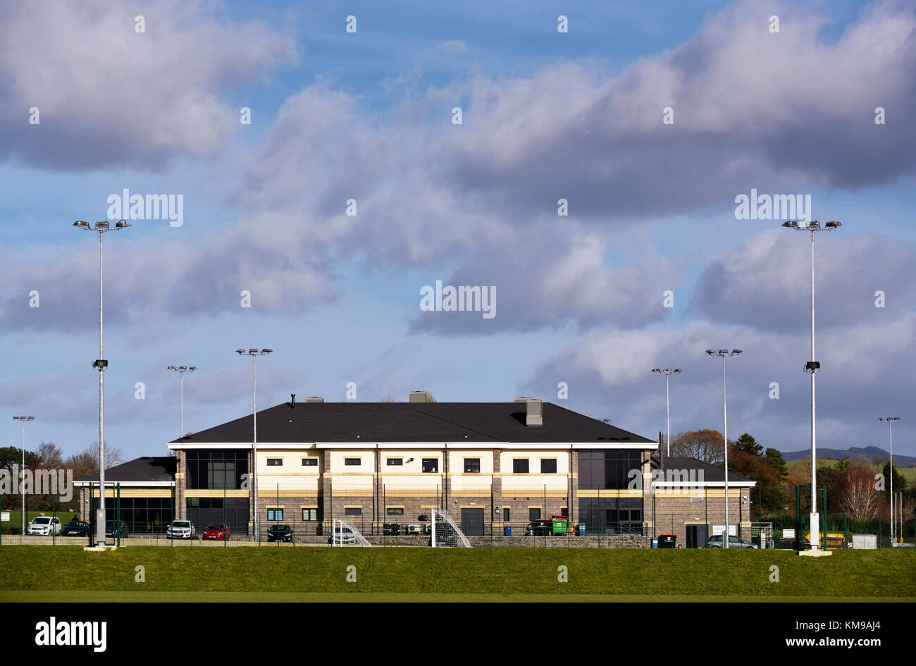 Kendal Rugby Union Football Club Clubhouse. Mint Bridge, Kendal, Cumbria, England, United Kingdom, Europe. - Stock Image