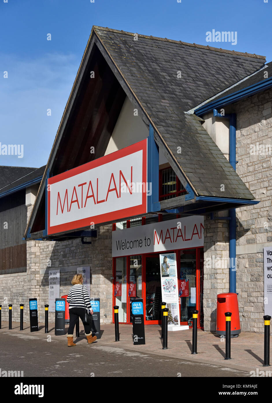 Customer approaching Matalan Store. The Old Showground, Kendal, Cumbria, England, United Kingdom, Europe. - Stock Image