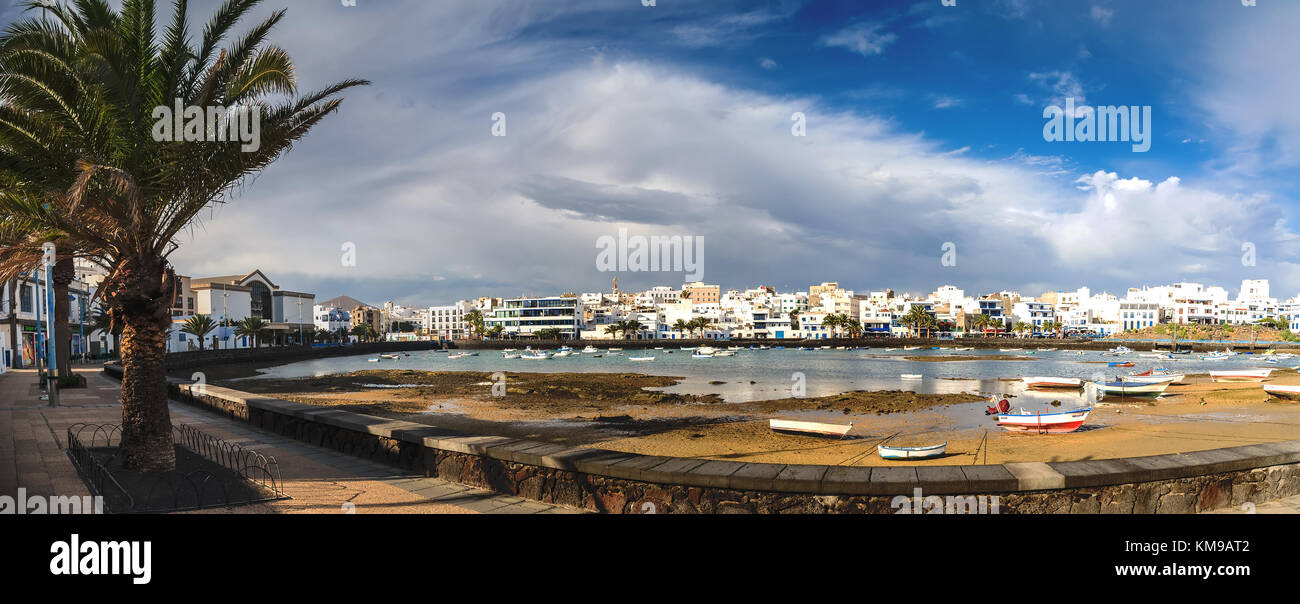 Arrecife, Spain - December 24, 2016: day view of Charco de San Gines in Arrecife, Spain. The harbor area was remodelled - Stock Image
