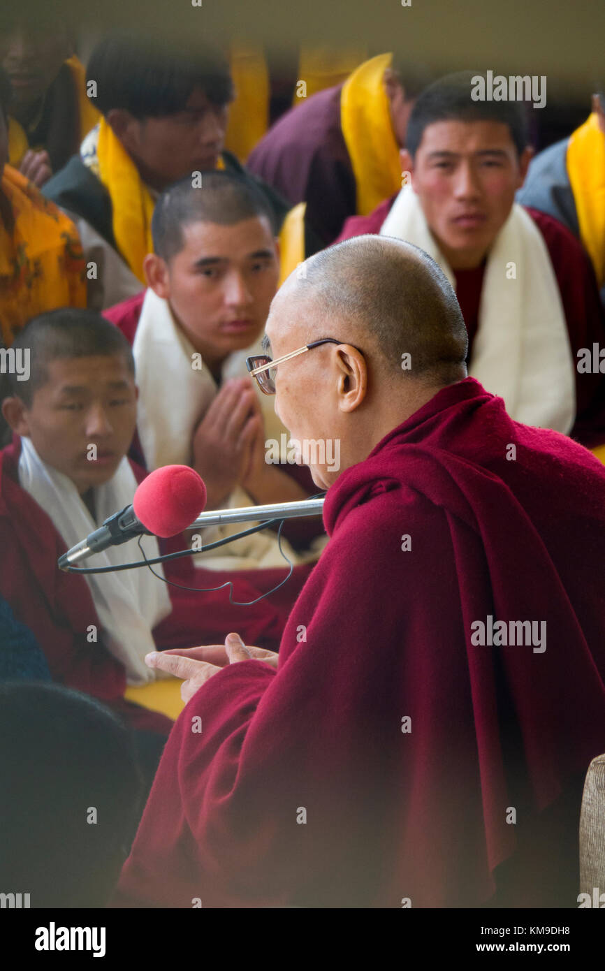 His Holiness the 14th Dalai Lama talks to Tibetan followers at Namgyal Monastery in Mcleod Ganj, India - Stock Image