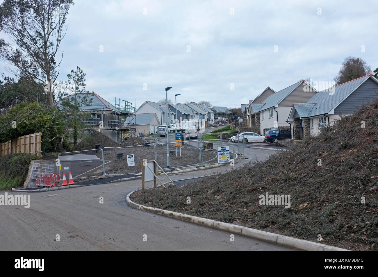 New build houses on the outskirts of Penryn, Cornwall. - Stock Image