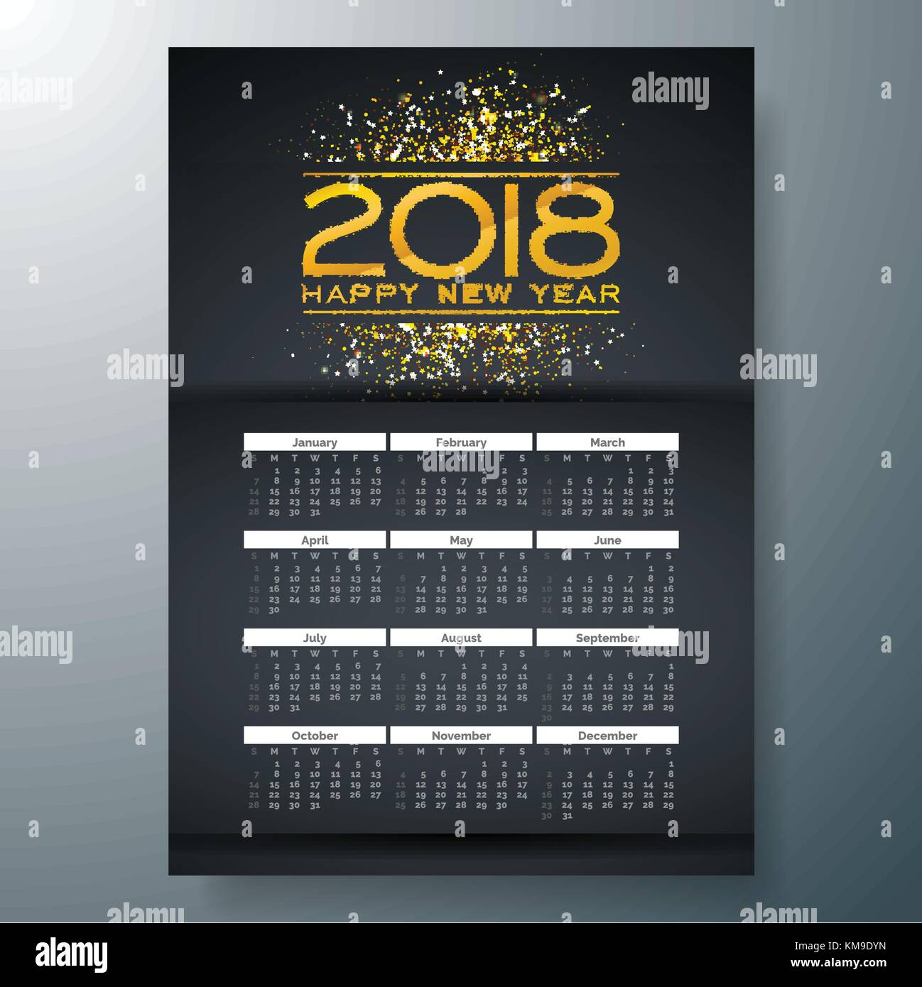 Calendar 2018 Week On Sunday Stock Vector Images - Alamy