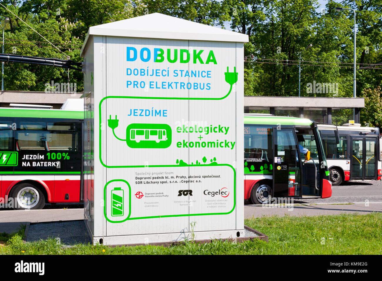 Dobíjení elektroautobusů, Želivského, Praha, Ceska republika /  ecology bus electromobile charging station on the Stock Photo