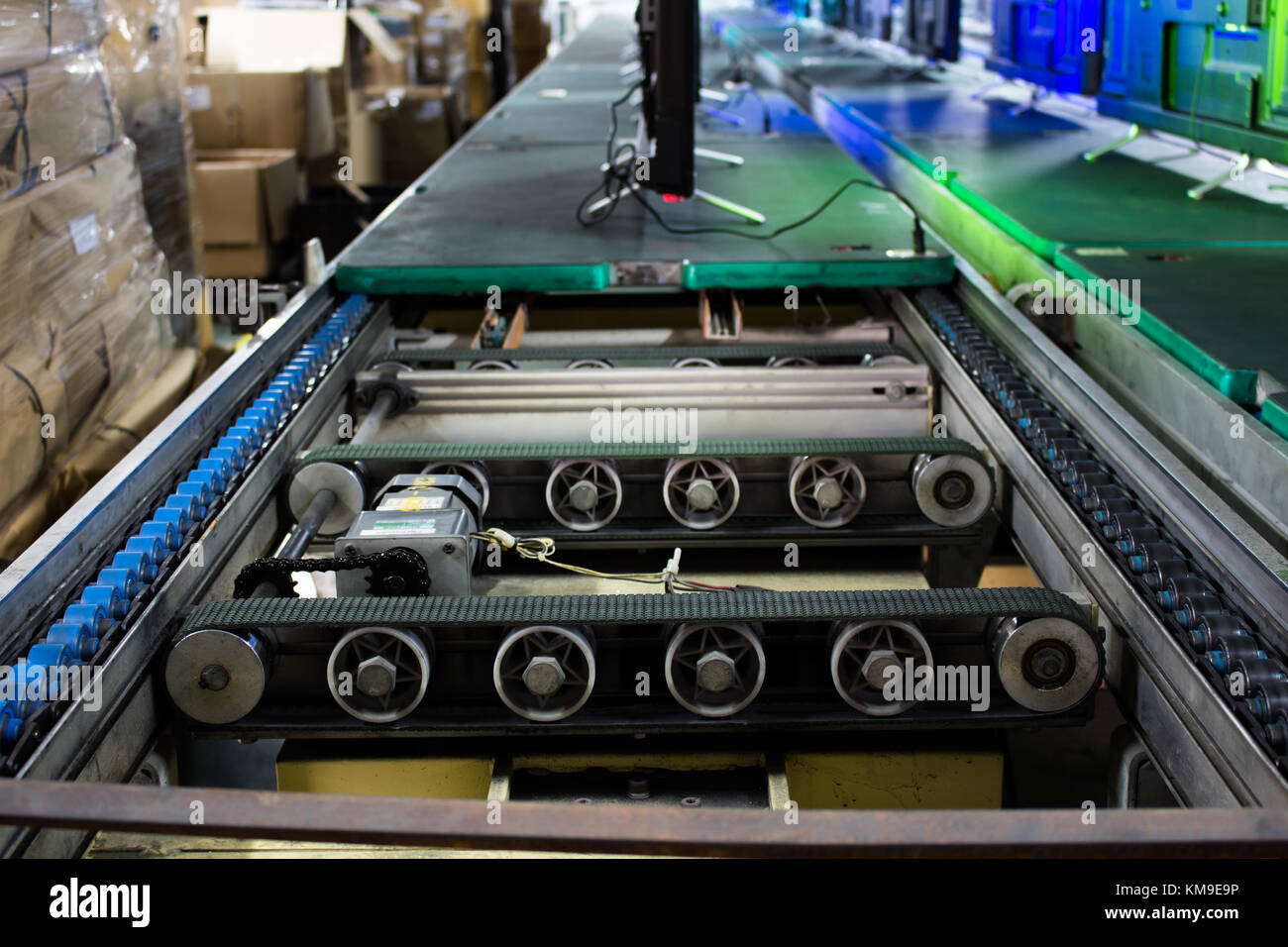 Belt, Conveyor belt, production line of the factory - Stock Image
