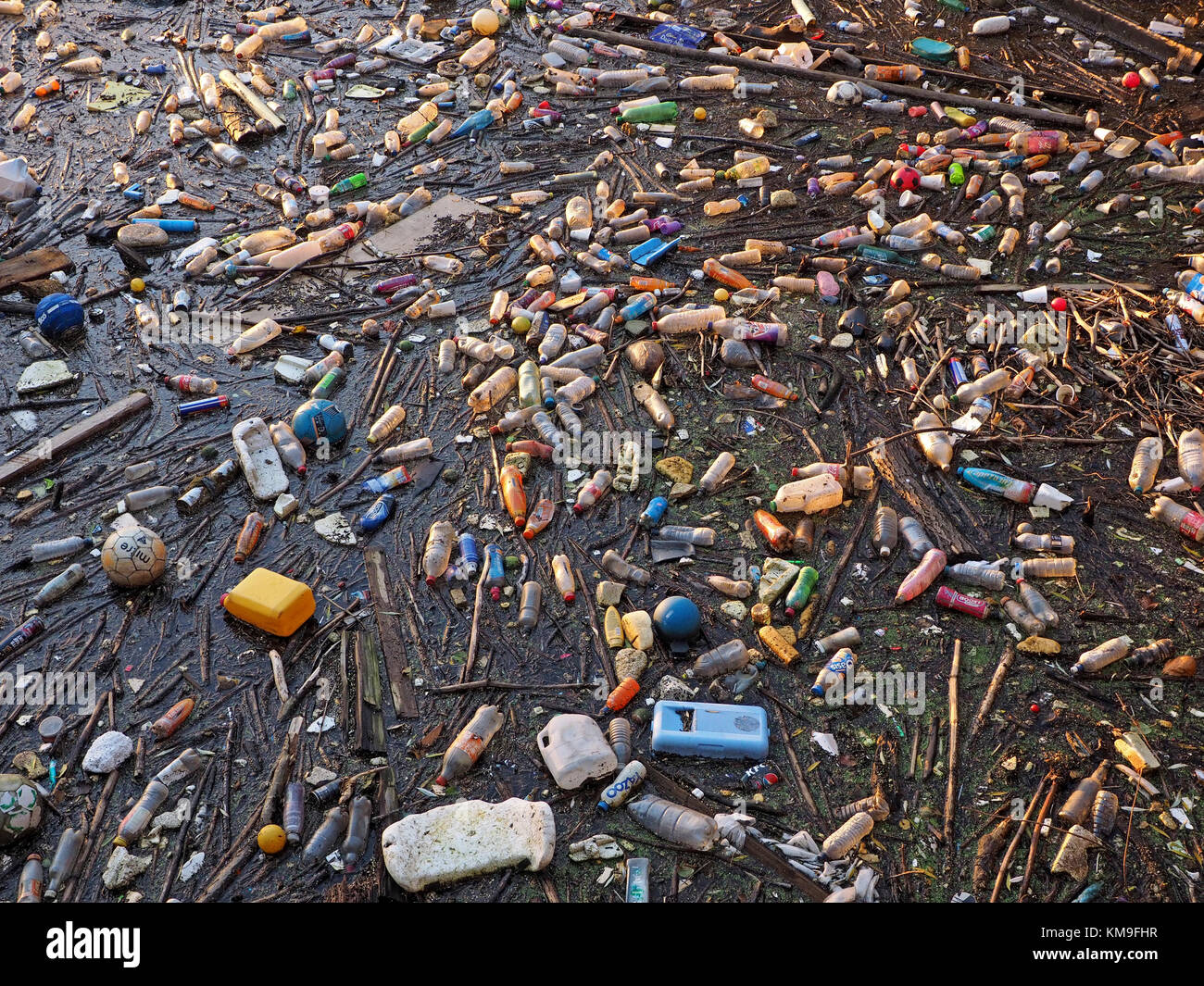 floating mass of mostly plastic non-biodegradable rubbish accumulating on the waterfront at Salford Quay, Manchester, - Stock Image