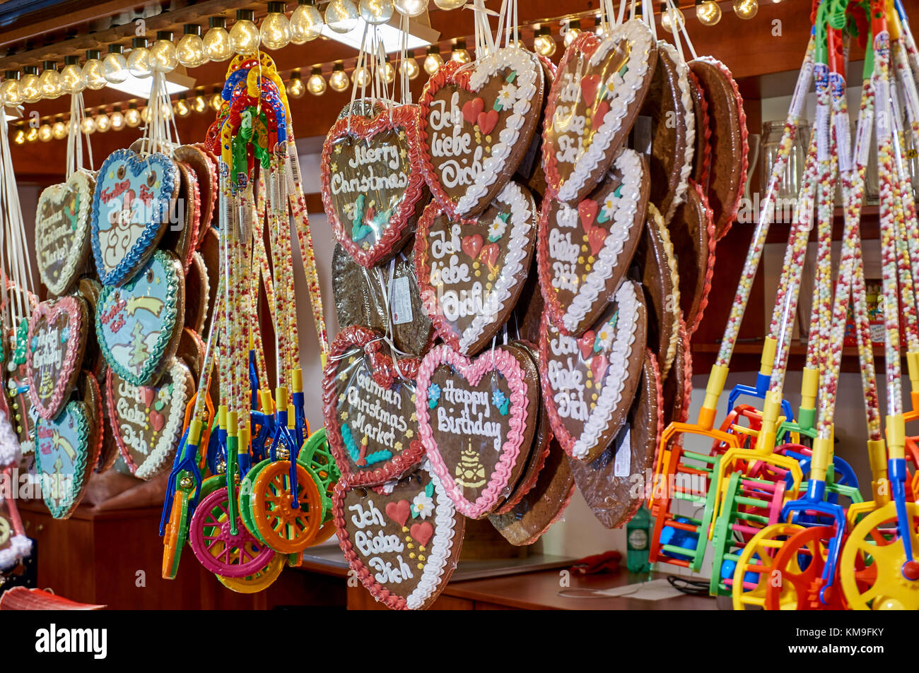 Glasgow, Scotland - 1 December 2017 : Christmas sweets and decorations on a street marked during the festive period. - Stock Image