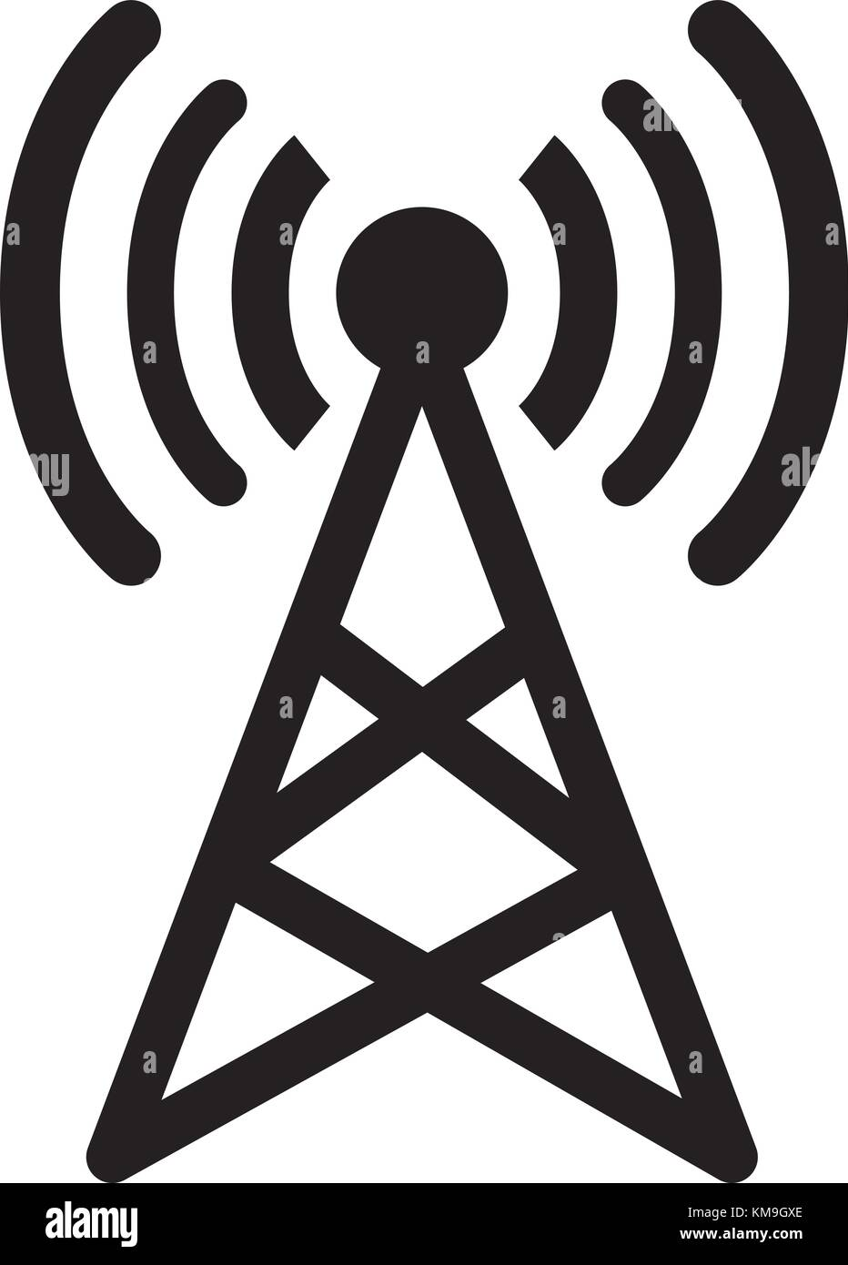 Antenna signal sign vector and isolated white background.Symbol of signal - Stock Image
