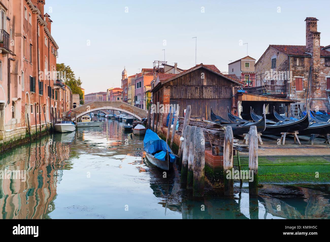 Add new tags   Gondolas under construction in Squero di San Trovaso gondola boatyard Dorsoduro Venice - Stock Image