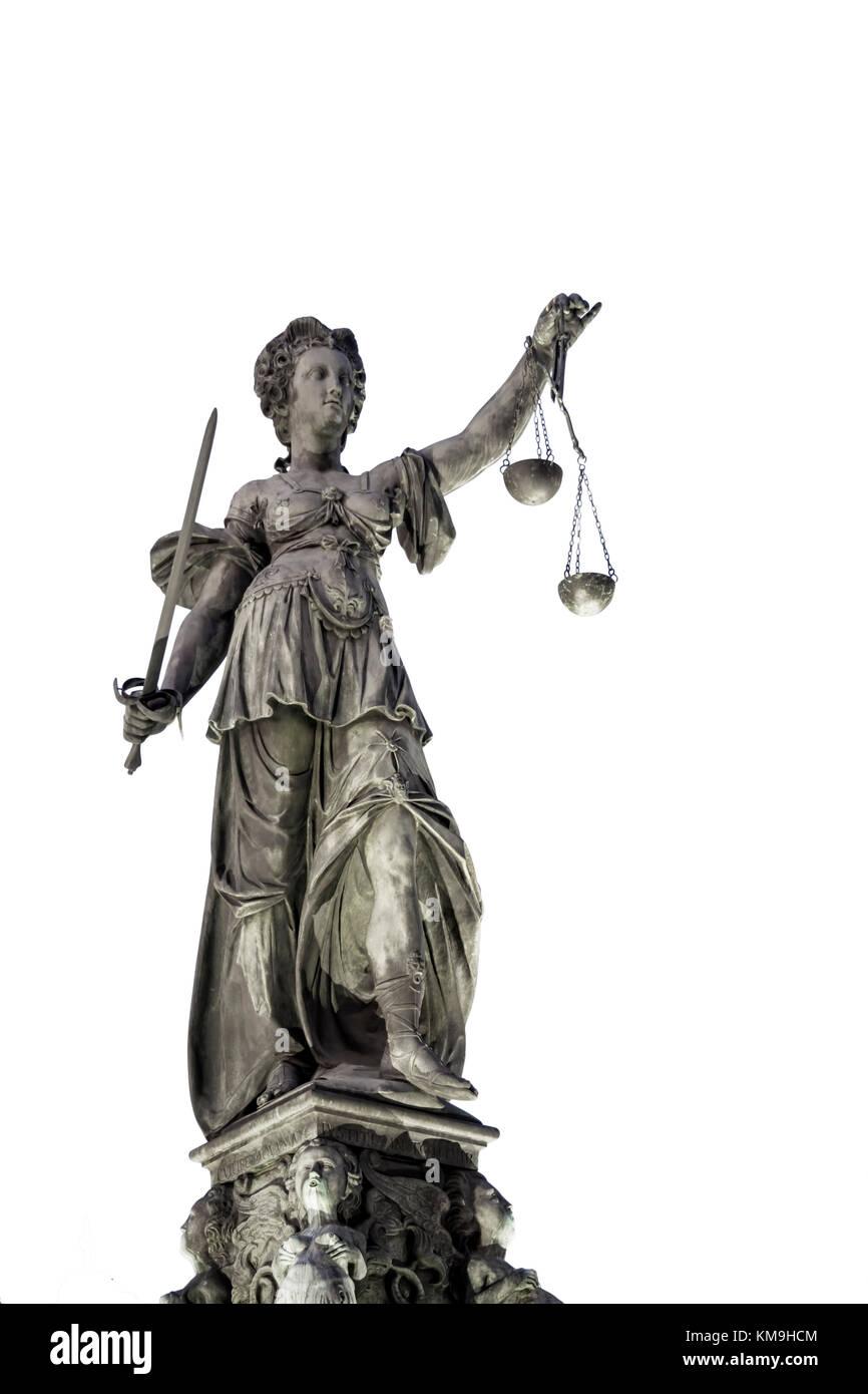 Justitia, Roemerberg,  Frankfurt Germany - Stock Image