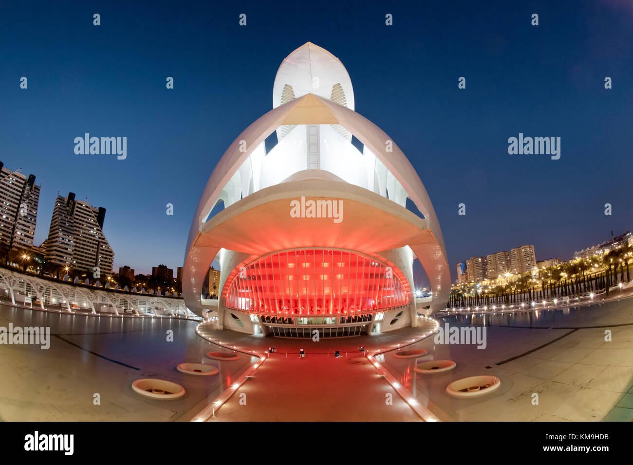 The Palau de les Arts Reina Sofia by Calatrava, , Valencia, Spain Stock Photo