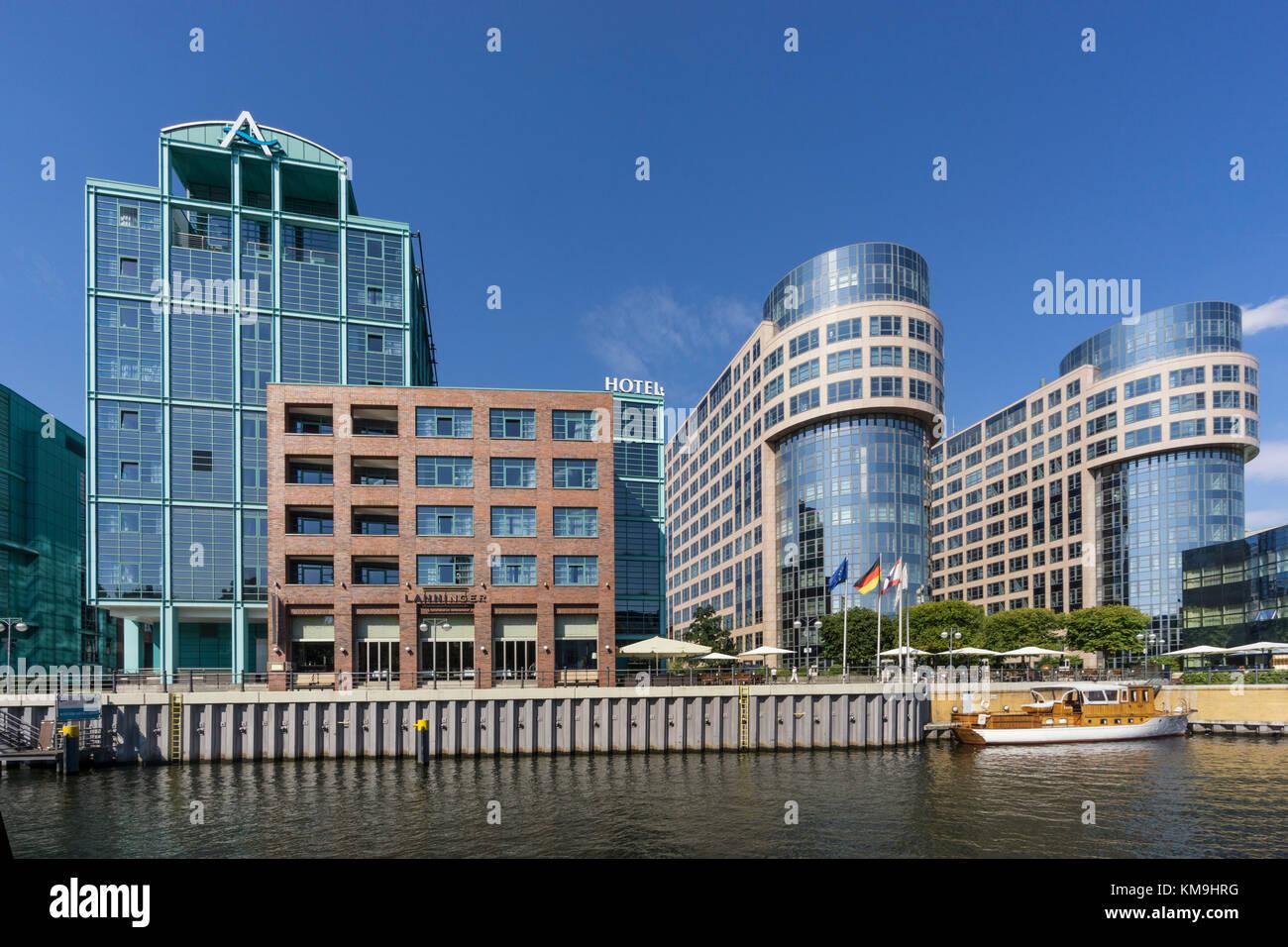 Spreebogen, modern architecture,  river Spree, Alt Moabit , Hotel Abion, Old Bolle Dairy, ,Berlin, Germany - Stock Image