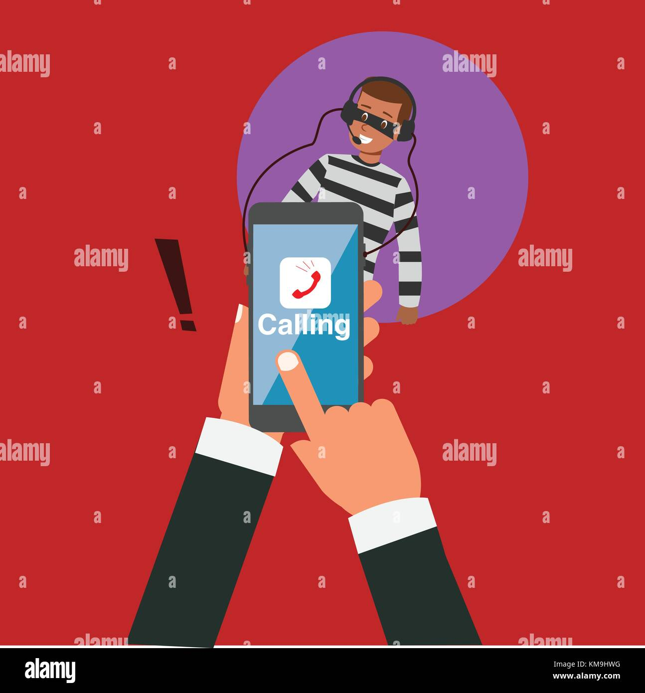 Business hand calling with application but hacker eavesdropping vector illustration.Robbery online business concept.Hacker - Stock Vector