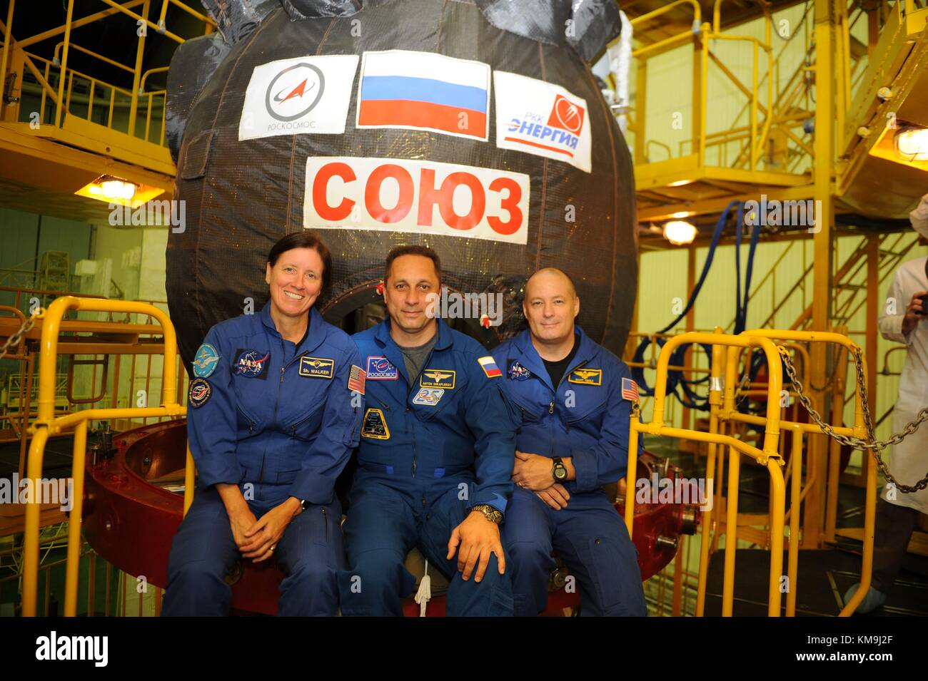 NASA International Space Station Expedition 53-54 backup crew members (L-R) American astronaut Shannon Walker, Russian - Stock Image