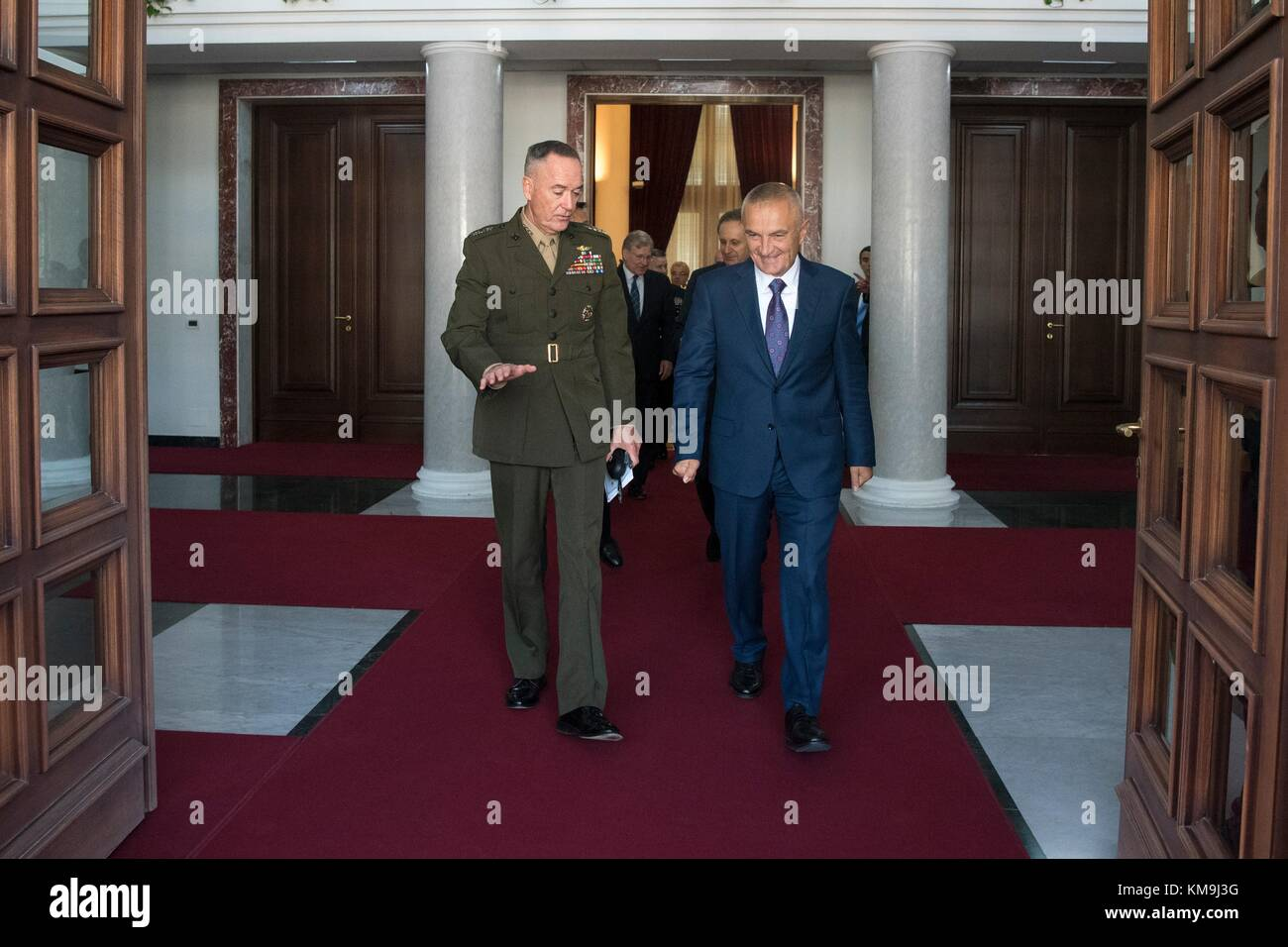 U.S. Joint Chiefs of Staff Chairman Joseph Dunford (left) meets with Albanian President Ilir Meta before the North - Stock Image