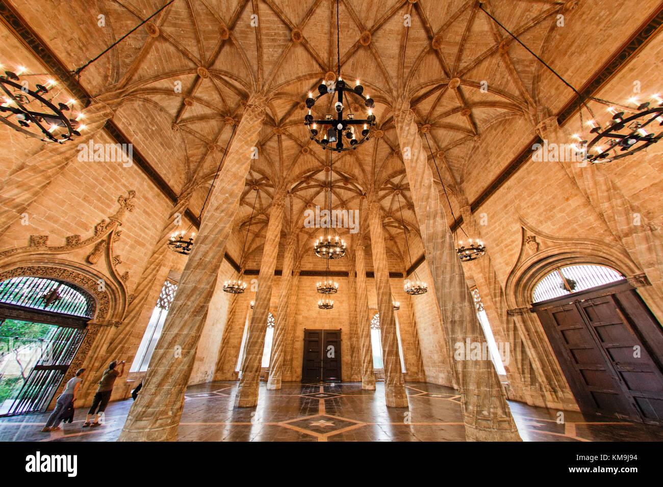 La Lonja de la Seda, UNESCO World heritage, silk exchange, columns,    Valencia, Spain - Stock Image