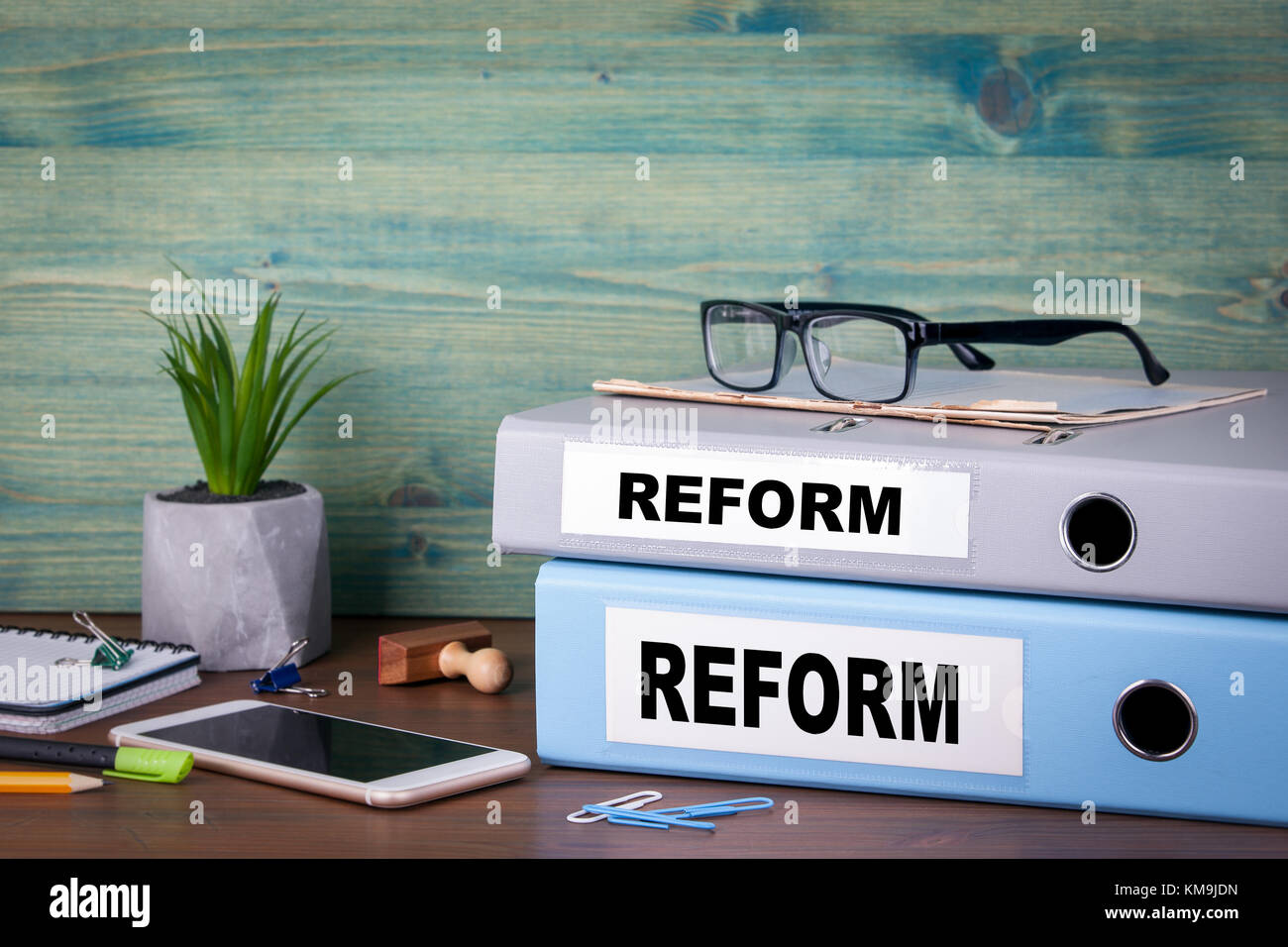 reform concept. taxes education and medical background - Stock Image