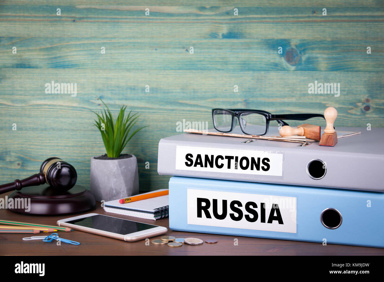 Russia and sanctions concept. Politics and business relations - Stock Image