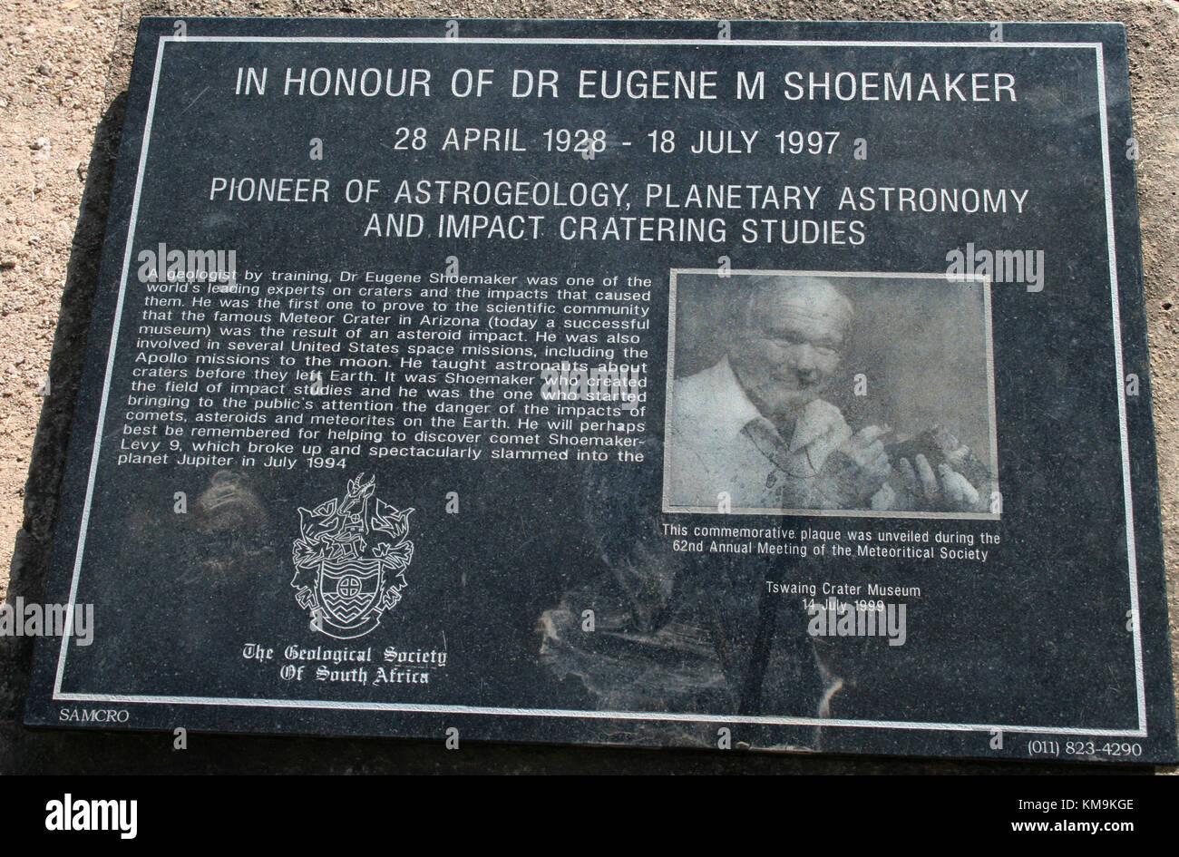 Dr Eugene M Shoemaker memorial at Tswaing Crater, Pretoria, South Africa - Stock Image