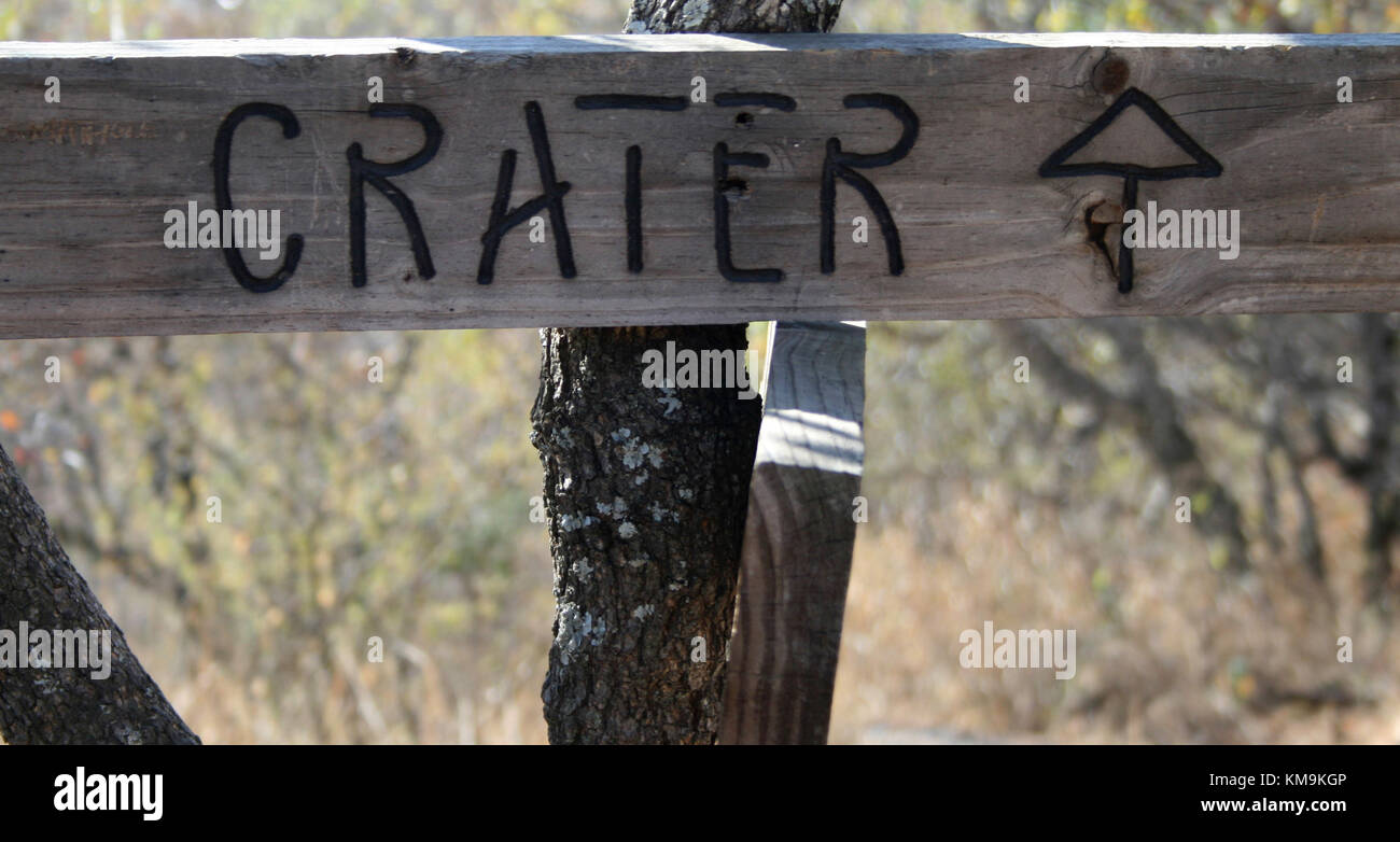 Sign during the hiking path at Tswaing Crater, Pretoria, South Africa - Stock Image