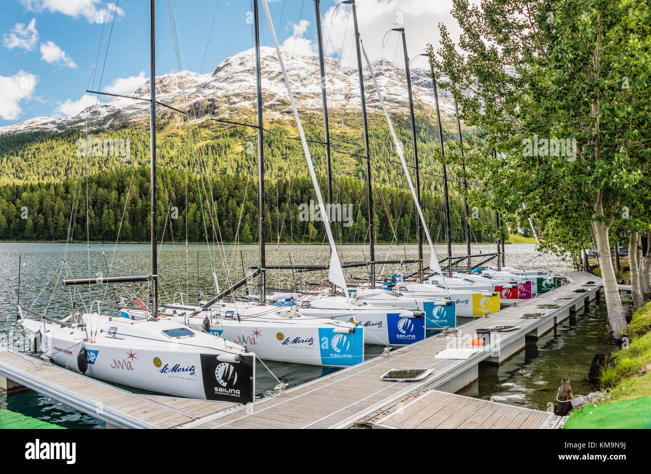 Sailing boats moored at Lake St.Moritz during the Match Race, St.Moritz, Switzerland | Segelboote vor Anker beim - Stock Image