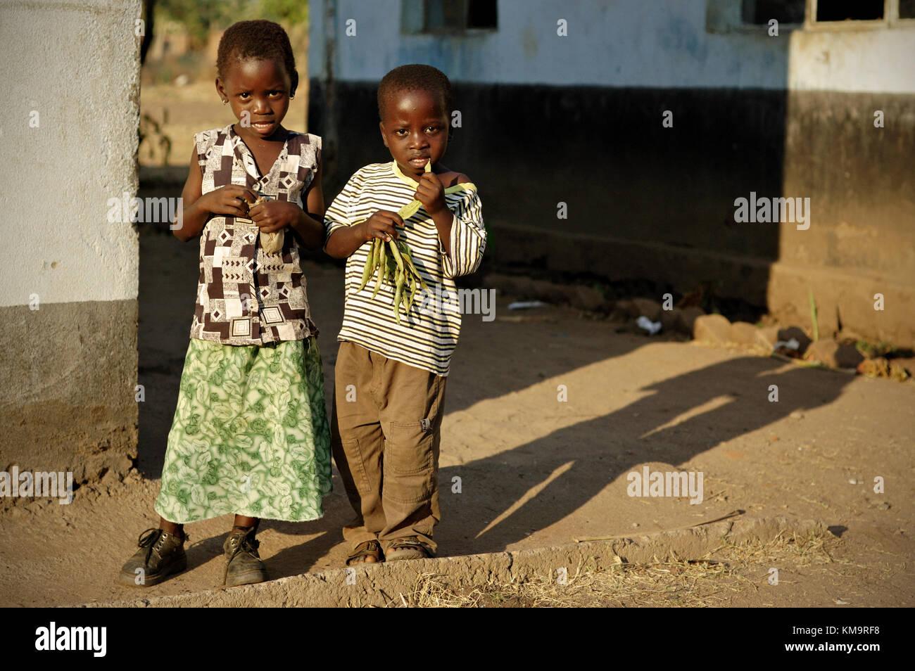 Two children in Kawaza village, Eastern Province, Zambia Stock Photo