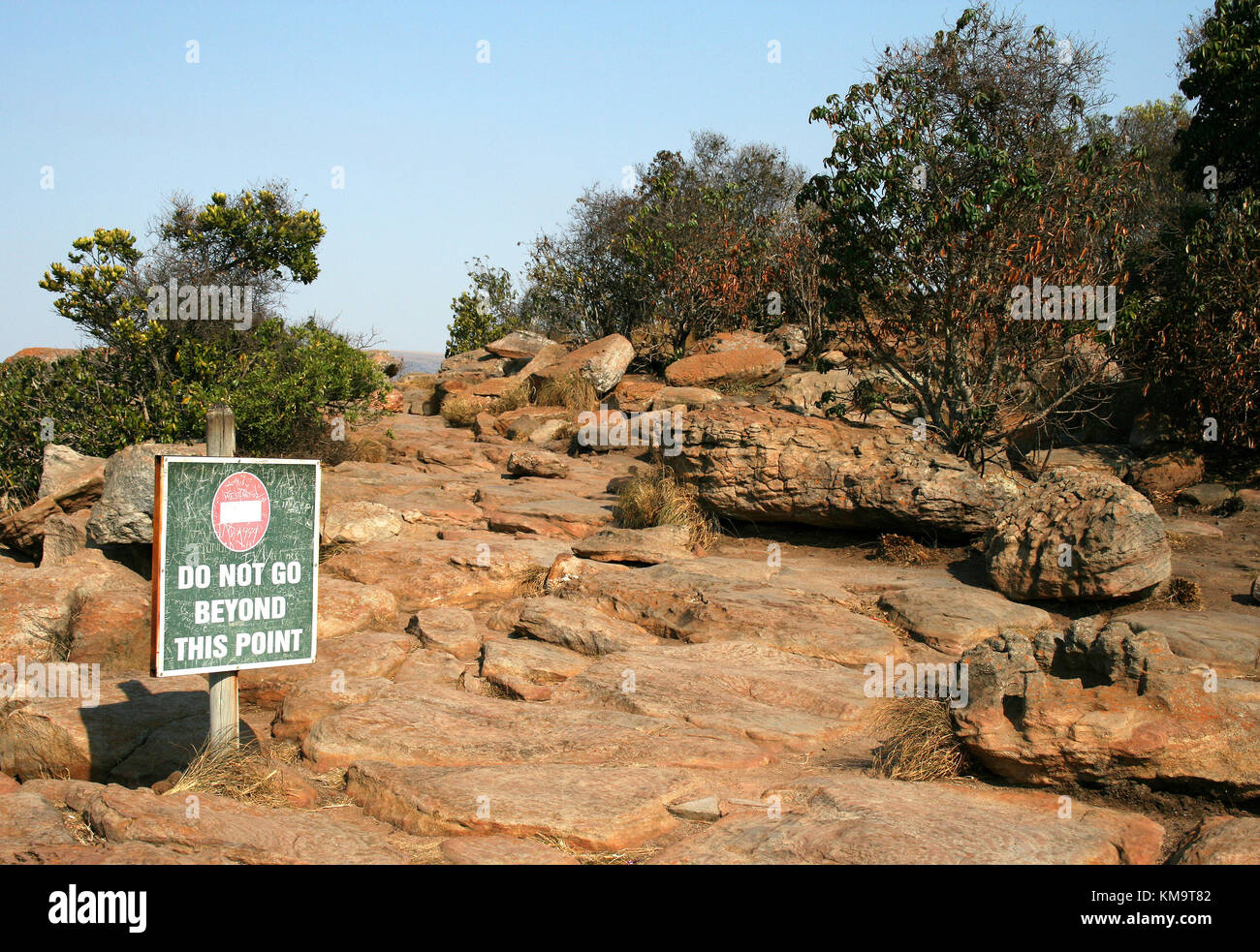 Mpumalanga, South Africa, no entry sign on rocky pathway - Stock Image