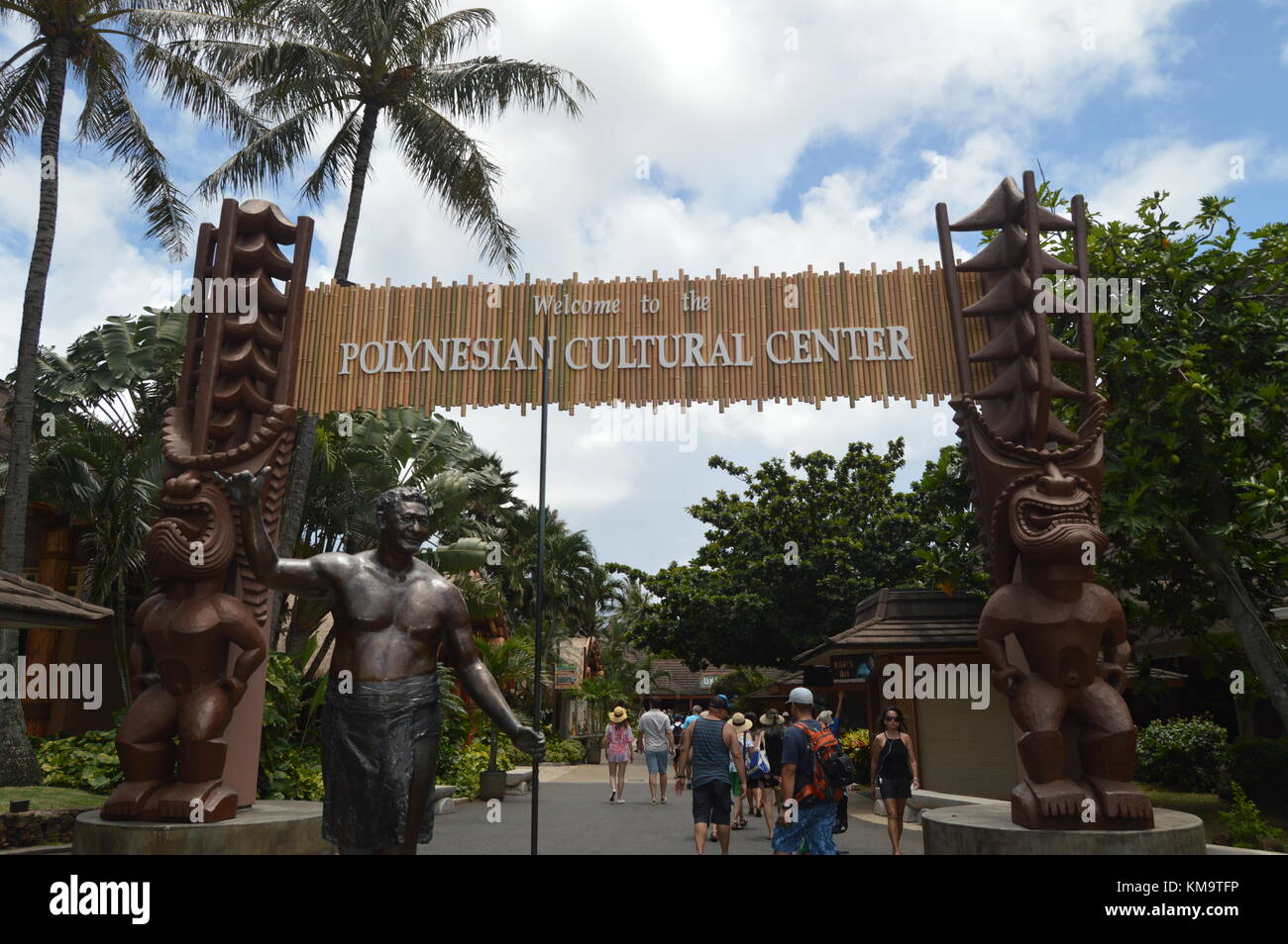 Entrance to the Polynesian Cultural Center. Oahu, Hawaii, USA, EEUU. - Stock Image