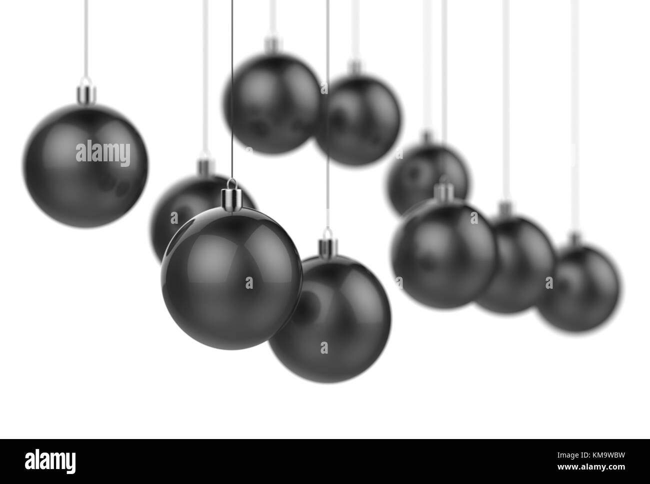 Black Christmas Balls.Black Christmas Balls Isolated On White Background With Selective