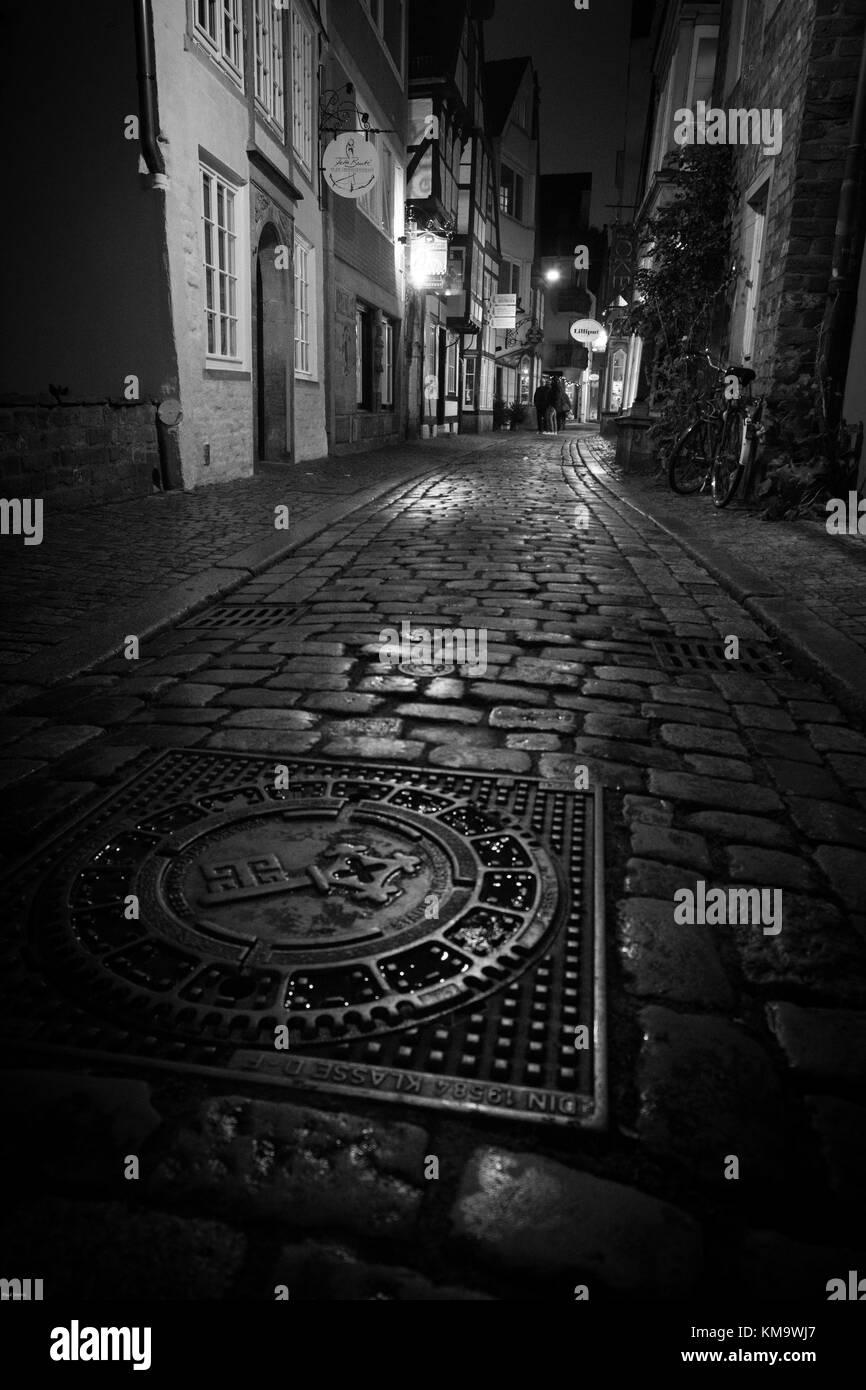 Schnoor, Bremen, Altstadt bei Nacht - Stock Image