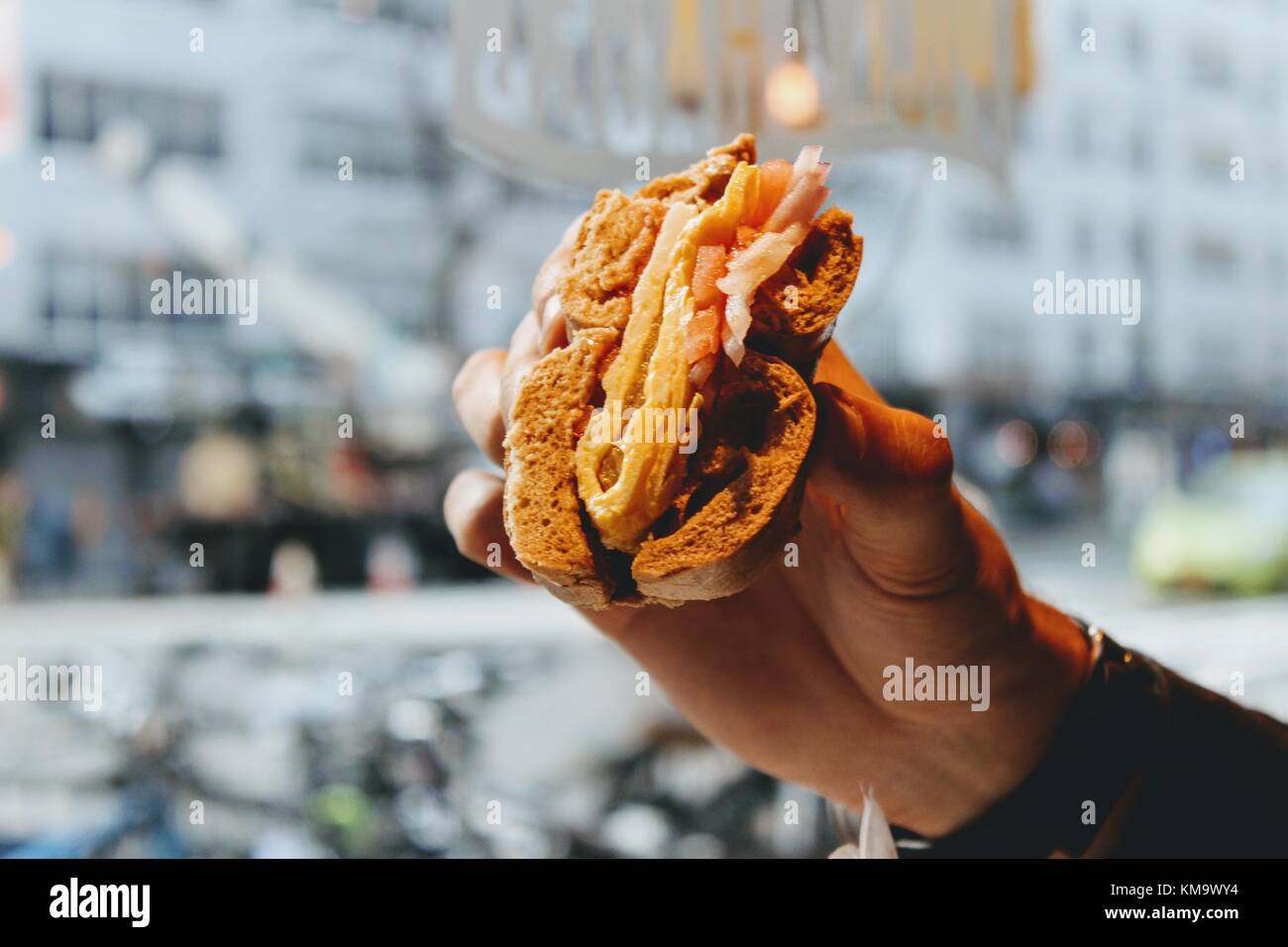 NYC Bagel Close up - Stock Image