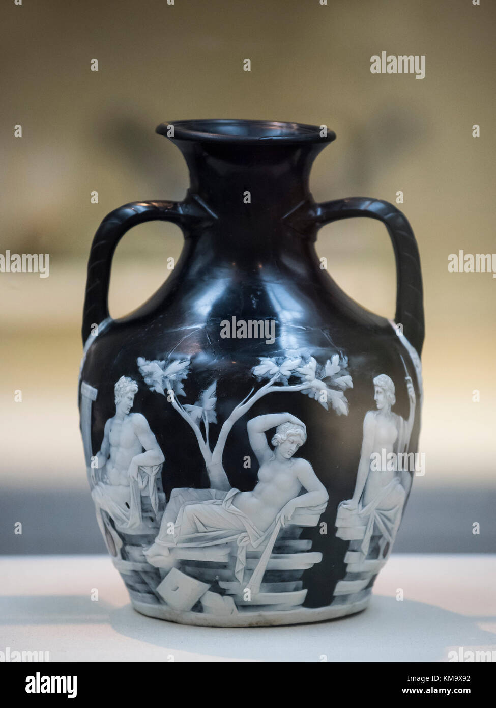 London. England. The Portland Vase, depicting mythological scenes of love and marriage, British Museum, from Rome, Italy, ca. 5-25 A.D. Stock Photo