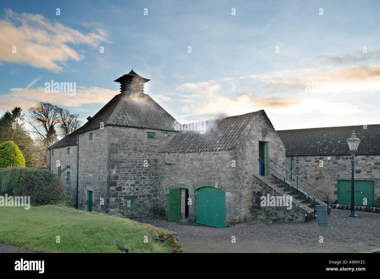 Daftmill Distillery, by Cupar, Fife, Scotland is one of Scotland's newest distilleries, using barley from its own Stock Photo