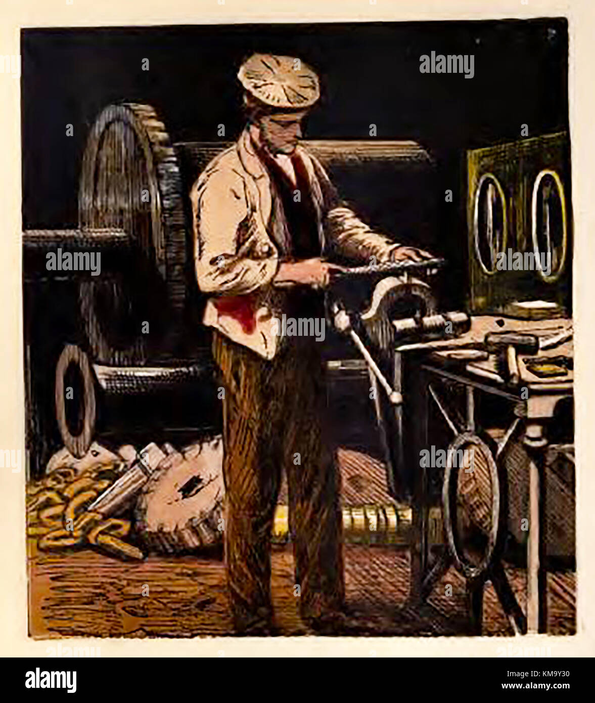 Illustration from a Victorian children's coloured book of occupations and pastimes.engineer /metal worker - Stock Image